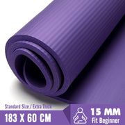 Thick 15mm Purple Non-Slip Travel Yoga Mat for Exercise & Meditation NBR - Yoga Mats - Chakra Galaxy