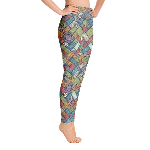 Transcendental Bohemian Mandala-Patterned Style Yoga Pants - Yoga Leggings - Chakra Galaxy