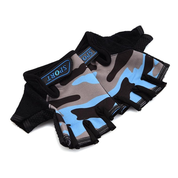 Gray & Blue Camouflage Slim Yoga Workout Gloves for Wrist Protection