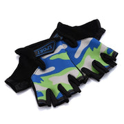 Blue & Green Camouflage Slim Yoga Workout Gloves for Wrist Protection