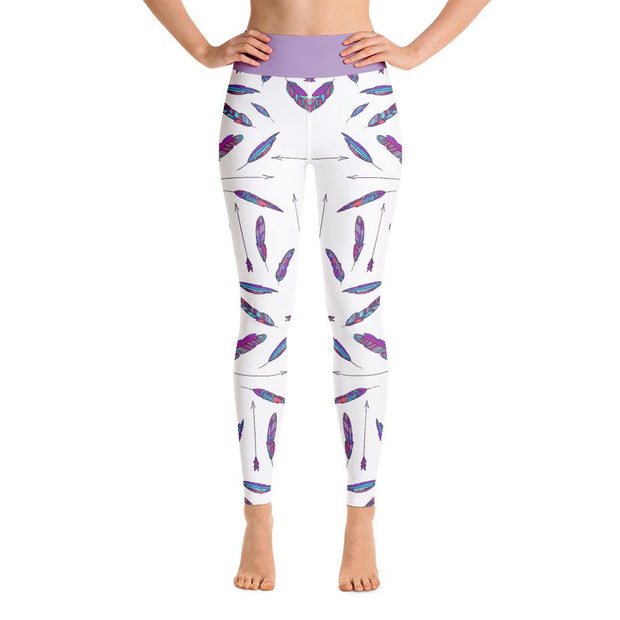 White Eccentric Bohemian Feathers Pattern Yoga Leggings - Yoga Leggings - Chakra Galaxy