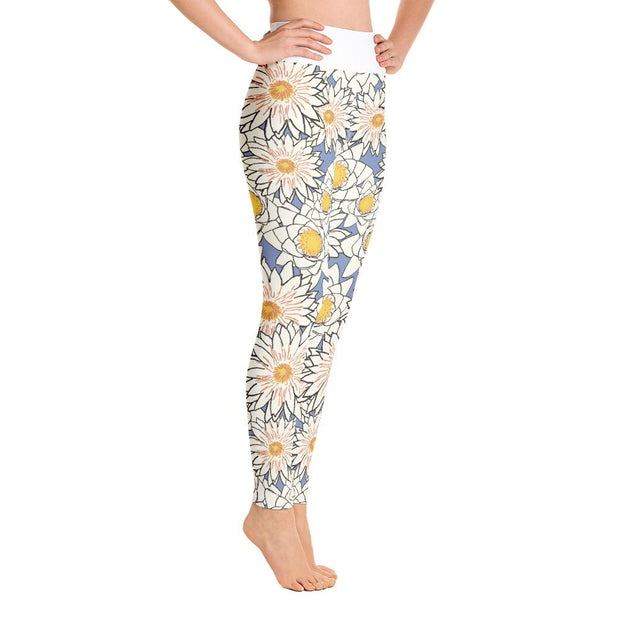 White Lotus High Waist Flower Pattern Yoga Pants Leggings - Yoga Leggings - Chakra Galaxy
