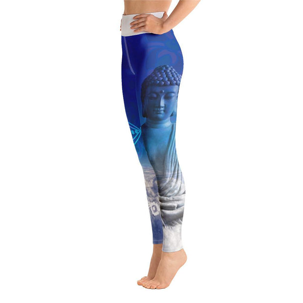 White Spiritual Zen Buddha Mandala Yoga Pants Leggings - Yoga Leggings - Chakra Galaxy