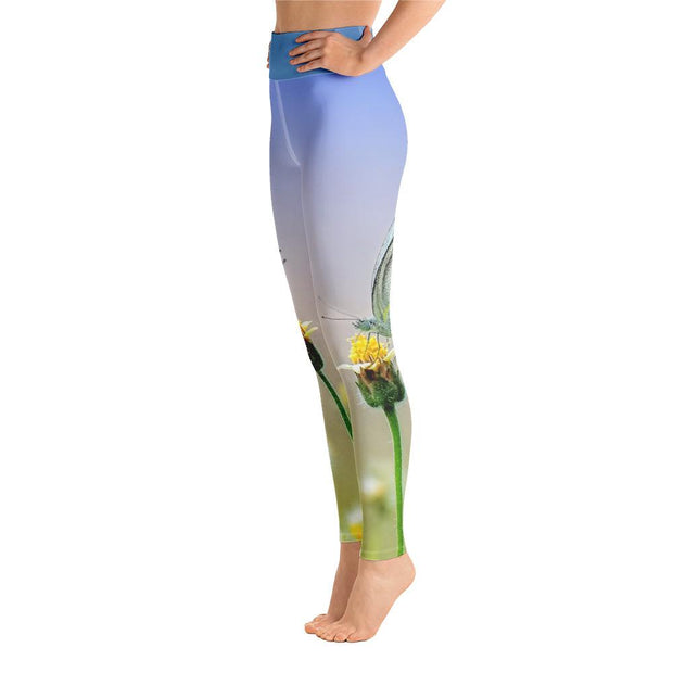Zen Nature Butterfly Blue Yoga Pants High Waist Leggings - Yoga Leggings - Chakra Galaxy