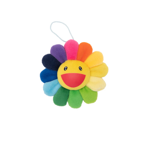 Plush Rainbow / Yellow Flower Key Chain
