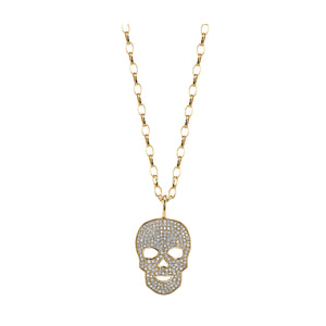 Pave Skull Charm Necklace