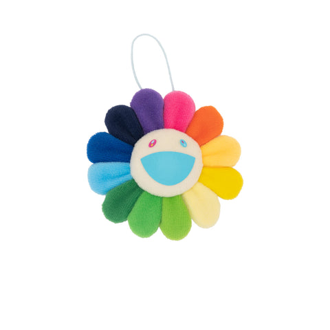 Plush Rainbow / White Flower Key Chain