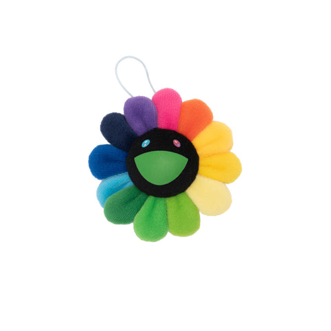 Plush Rainbow / Black Flower Key Chain