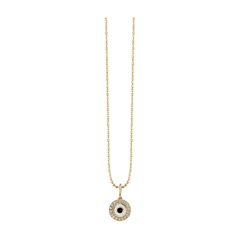 Evil Eye Disc Charm with Diamond and Enamel Necklace
