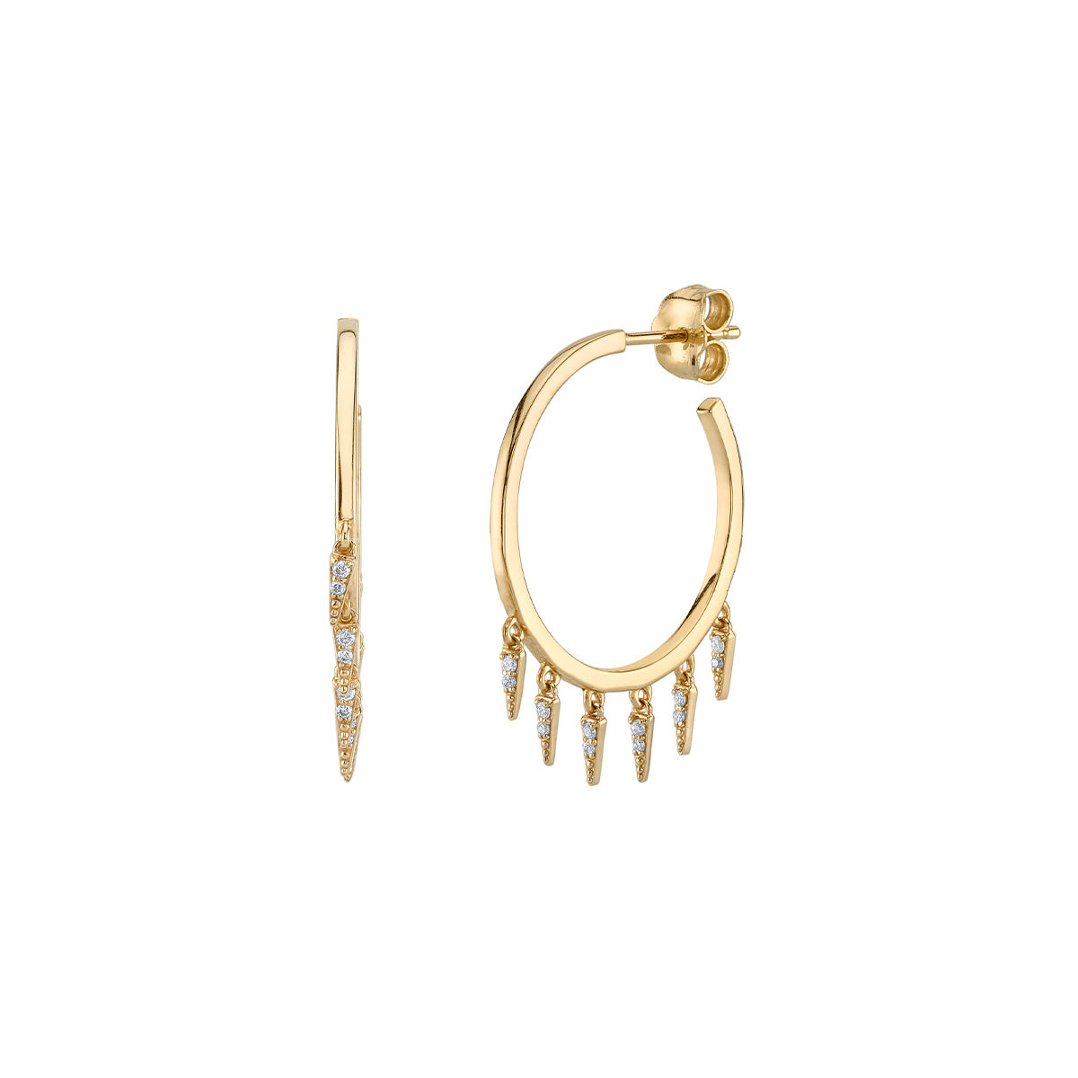 Pave Fringe Drop Hoops