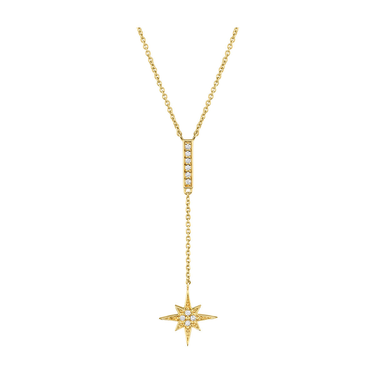 Pave Bar And Starburst Y-Necklace