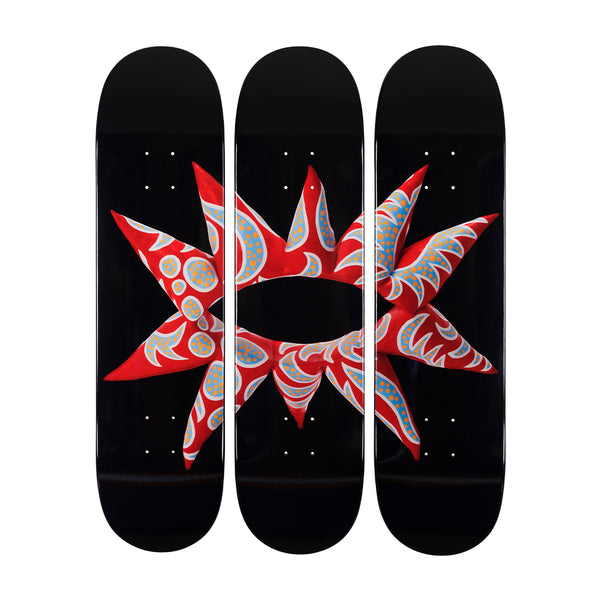 Flowering Heart Skate Deck Triptych