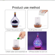 3D Fireworks Glass  Air Humidifier