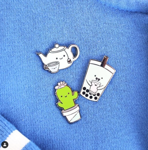 Teapot, Cactus and Bubble Tea Pins