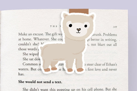 Alpaca / Llama (White) Magnetic Bookmark (Jumbo)