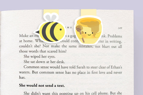 Bee and Honey Mini Magnetic Bookmarks (Mini 2 Pack)