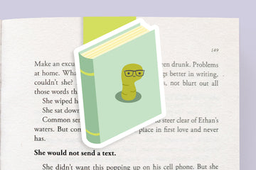 Bookworm Book (Teal) Magnetic Bookmark (Jumbo)