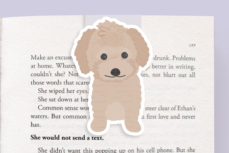 Mini Poodle (or Doodle) Dog Magnetic Bookmark (Jumbo)