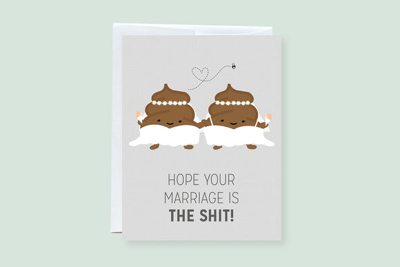 Wedding Poop Female Couple Punny Greeting Card