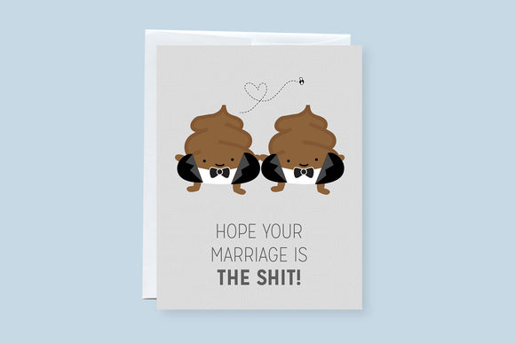 Wedding Poop Male Couple Punny Greeting Card