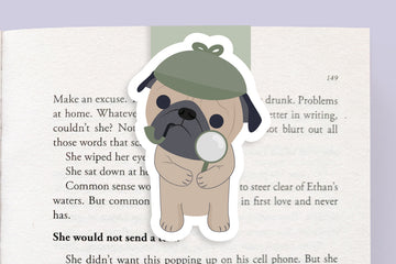 Detective Pug Magnetic Bookmark (Jumbo)