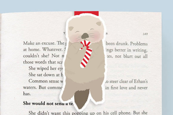 Holiday Sea Otter Magnetic Bookmark (Jumbo)