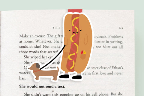 Hotdog and Weiner Dog Magnetic Bookmark (Jumbo)