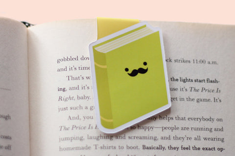 Bookish Moustache (Green) Magnetic Bookmark (Jumbo)