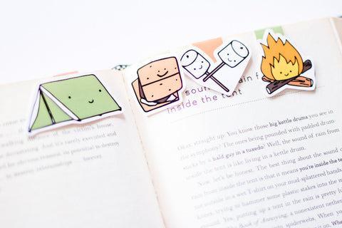 Camping Magnetic Bookmarks (Mini 4 pack)