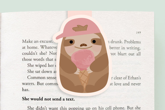 Sloth + Ice Cream Magnetic Bookmark (Jumbo)
