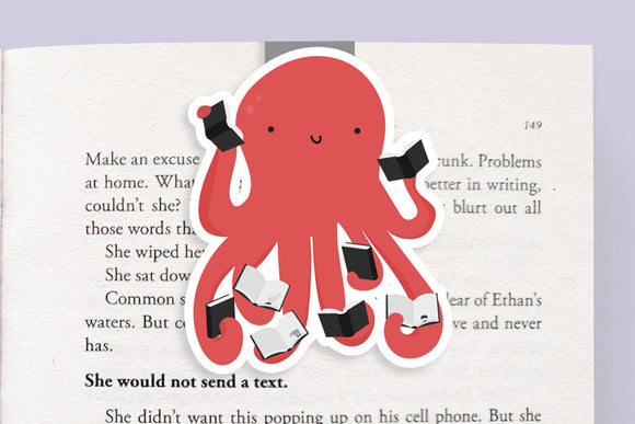 Octopus Reading Books Magnetic Bookmark (Jumbo)