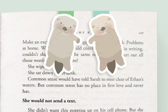 Otters Holding Hands Magnetic Bookmarks (Mini 2 pack)