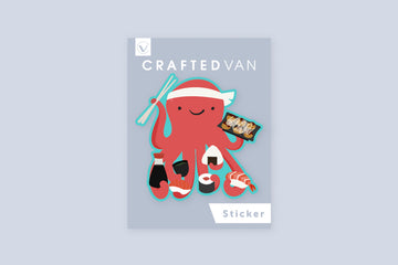 Octopus Making Sushi Vinyl Sticker