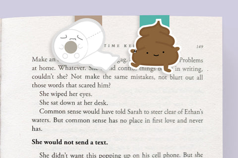 Poop and Toilet Paper Magnetic Bookmarks (Mini 2 Pack)