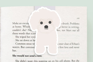 White Poodle Dog Magnetic Bookmark (Jumbo)