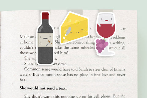 Wine and Cheese Magnetic Bookmarks (Mini 3 Pack)