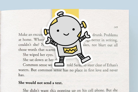 Yellow Robot Magnetic Bookmark (Jumbo)