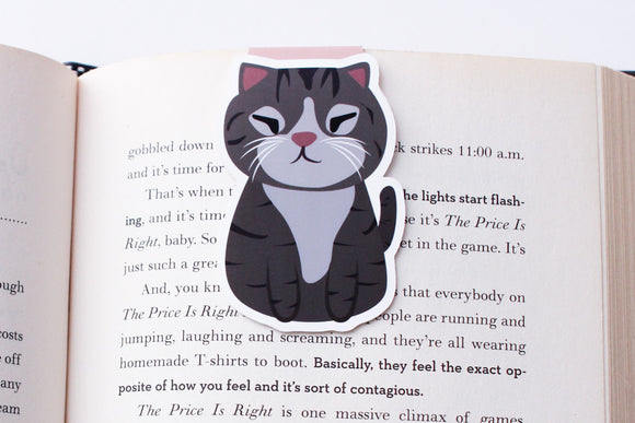 Grey American Shorthair Tabby Cat Magnetic Bookmark (Jumbo)