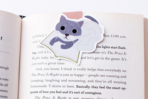 Grey Mixed Tabby Cat Reading Magnetic Bookmark (Jumbo)