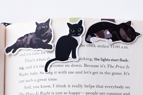 Black Cats Magnetic Bookmarks (Mini 3 pack)