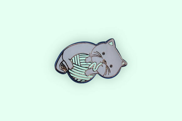 Cat + Yarn Ball Enamel Pin