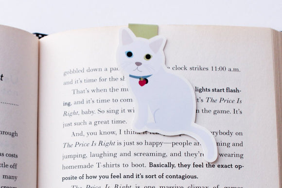 White Domestic Shorthair Cat Magnetic Bookmark (Jumbo)
