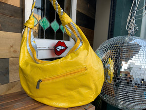 The Cyndi Lauper Bag!  vinyl yellow and silver bad