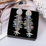 Fish Bone Diamond earring (4473708838947)
