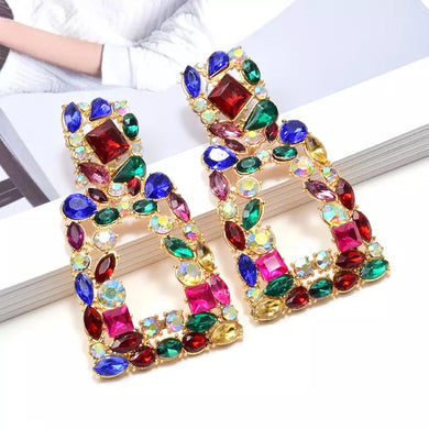 Colorful Crystals Dangle Earrings༄