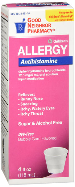 Diphenhydramine for Kids' 12.5mg/5ml (Generic Benadryl)