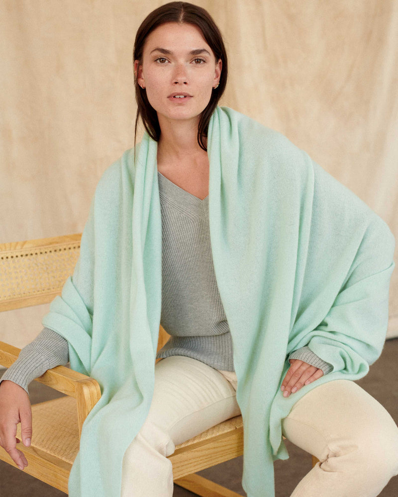 Cashmere Travel Wrap - Cucumber-White + Warren-Mercantile Portland
