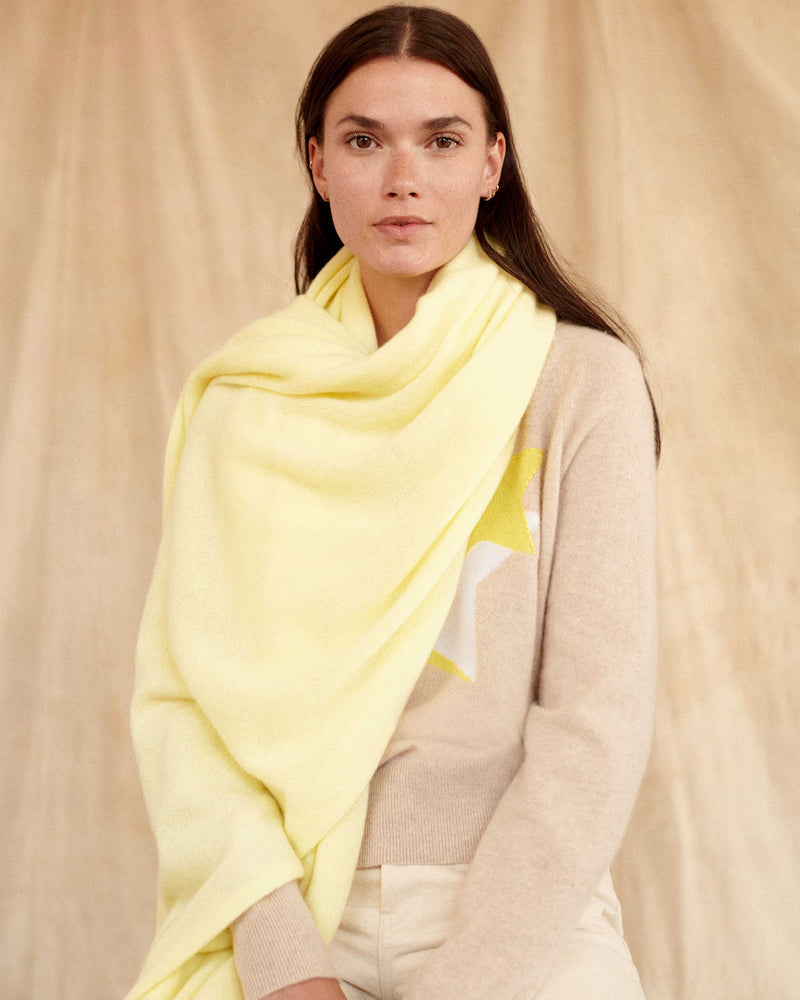 Cashmere Travel Wrap - Sunshine-White + Warren-Mercantile Portland