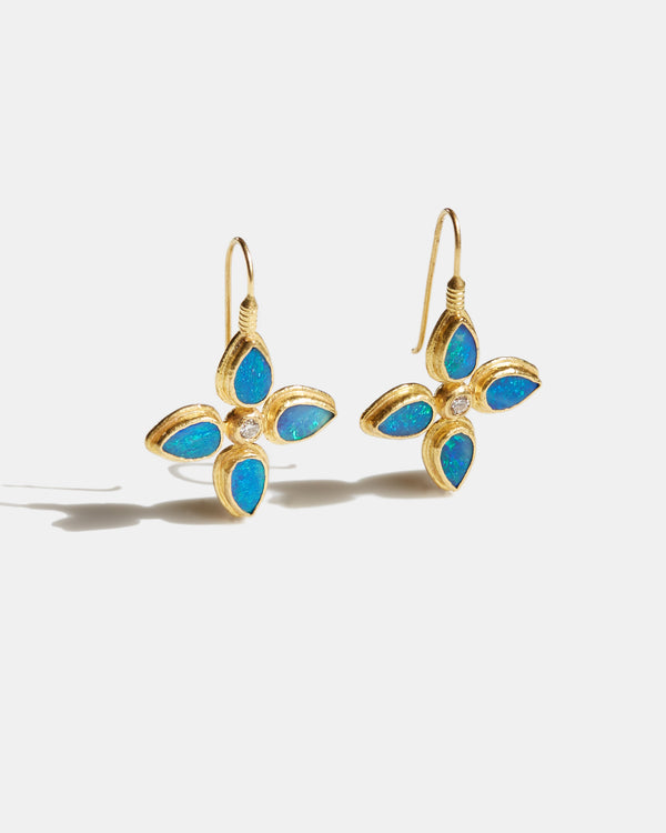 Australian Opal Doublet and Diamond Flower Drop Earrings-Ara Collection-Mercantile Portland