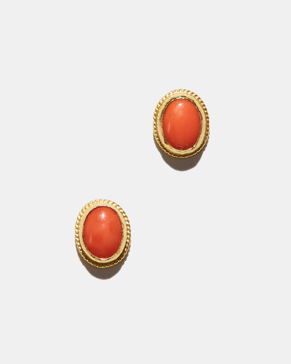 Coral Oval Studs-Ara Collection-Mercantile Portland